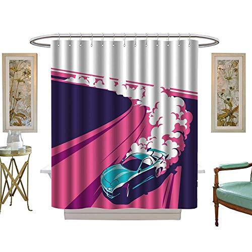 (luvoluxhome Shower Curtains Digital Printing Burnout car Japanese Drift Sport car Racing Team Turbocharger Tuning W69 x L75 Bathroom Accessories)