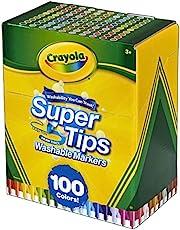 Crayola Super Tips filtpennor, tvättbara, flerfärgade, 100 stycken