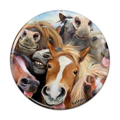 "Horses Selfie Kitchen Refrigerator Locker Button Magnet - 3"" Diameter"