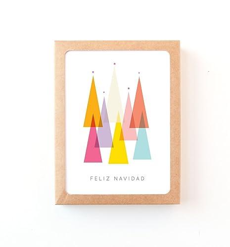 Amazon Com Feliz Navidad Modern Spanish Greeting Cards Set Of 6