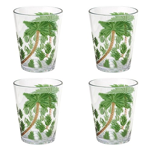 Coastal Living Seascapes Havana Palm Trees Acrylic DOF Double Old-Fashioned Glasses, Set of 4