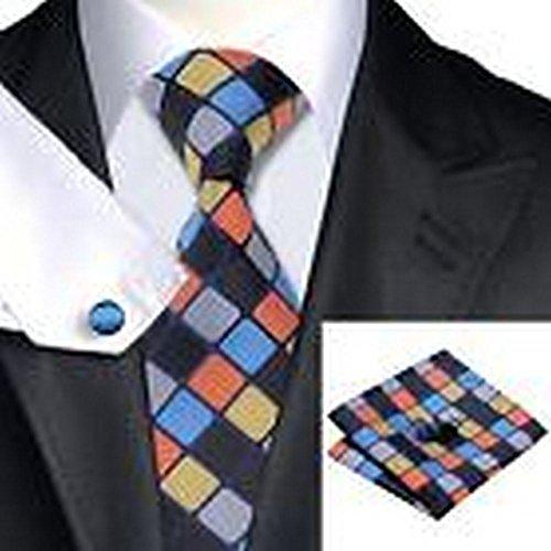 Classic Mens Silk Handkerchief Swallow Gird Checks Striped Pocket Square Hanky