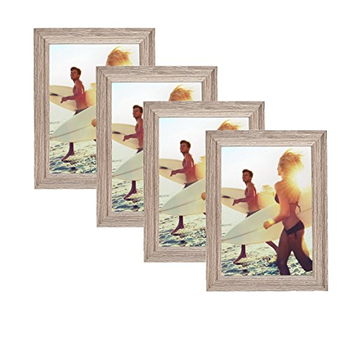 Classic Wooden Picture Frames 5x7 Display with Photo Glass Front Layer, Easel Back, Hanging Clip (Set of 4, (Ash Frame)