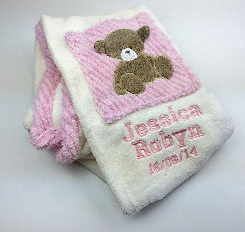 personnalisé Deluxe Teddy carré en Couverture pour bébé–personnalisé Luxueux Wrap. Beau Cadeau bébé. The Personalised Baby Company