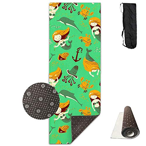 SARA NELL Yoga Mat Marine Pattern With Mermaid Design Printed Hot Yoga Mat With Carry Strap And Carry Bag Extra Large Non-Slip Exercise Mat 71''X 24''X 0.25'' by SARA NELL