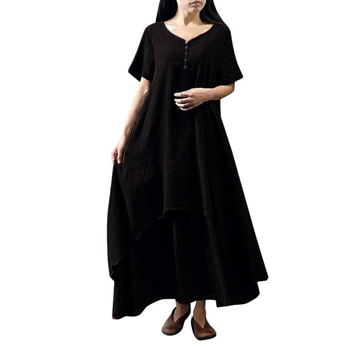db5dc60ec8a JESPER Womens Casual Daily Plus Size Short Sleeve Soild Splice Lace Long  Dress Black