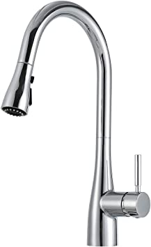 Realfor Commercial Kitchen Faucet High Arc Single Handle Kitchen Sink Faucet With Pull Down Sprayer Matte Black Chrome 2 Amazon Com