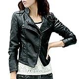 Artfasion Women's Slim Tailoring Faux Leather PU Short Jacket Coat (M, black1)