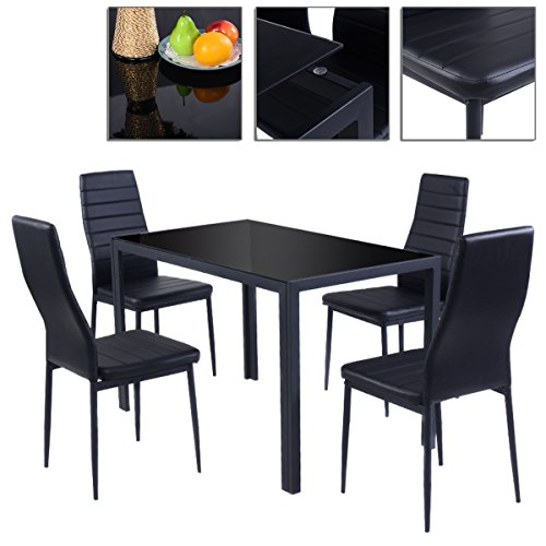 5pcs Dining Table Chairs Set Glass Metal With Beautifully Furnished Black Color And Sturdy Structure TSE162A