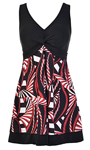 - BET&FIT Womens Plus Size Tummy Control Swimdress Floral Skirted Swimsuits Swimwear
