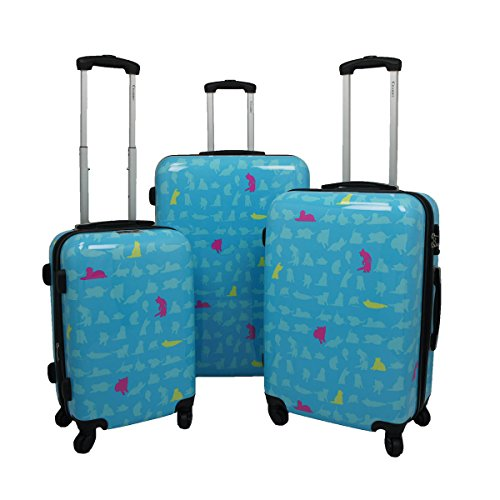 Chariot 3-Piece Hardside Lightweight Upright Luggage Set, Summer Cat by Chariot