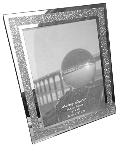 Amazon.com: Amlong Crystal Sparkle Mirror Glass Picture Frames 8 x ...