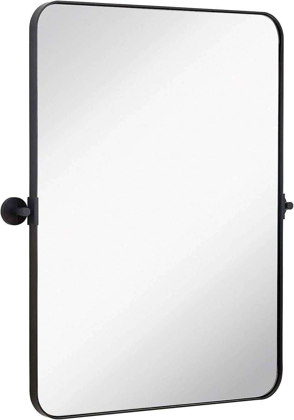 "Hamilton Hills Black Metal Surrounded Round Pivot Mirror | Silver Backed Adjustable Moving & Tilting Wall Mirror Adjustable 22"" x 30"""