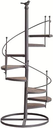 Escalera de caracol de múltiples capas en forma de flor de hierro forjado Escalera de 8 pisos con balcón, sala de estar, maceta de interior, estante para macetas, 56 * 23 cm: Amazon.es: Hogar