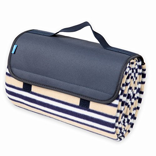 Yodo Water-Resistant Picnic Blanket Tote with Soft Fleece, Spring Summer Stripe