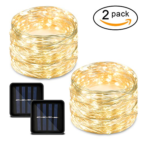 ring Lights Outdoor Waterproof Solar Fairy Lights Warm White with 8 Modes 33ft 100LED Pack of 2 Decorative String Lights for Patio, Garden, Christmas ()
