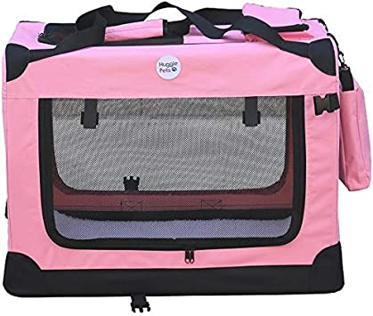 Hugglepets Lightweight Fabric Dog Crate Carrier With Mat And Treat Food Bag Small Pink Amazon Co Uk Pet Supplies