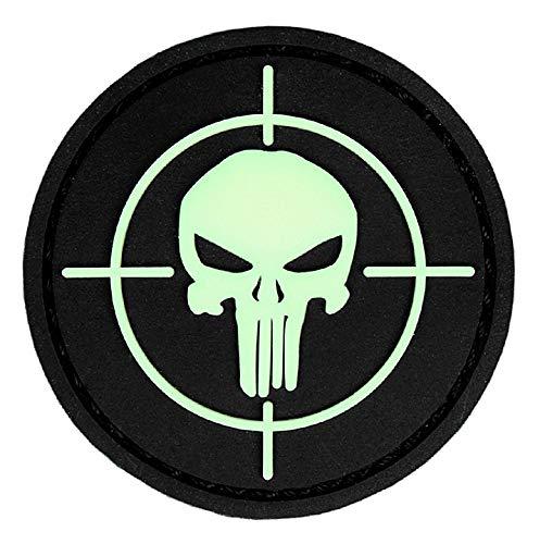 topt mili Tete de Mort Sniper Cible tireur d Elite Punisher ecusson PVC 3D Visible de Nuit Glow 4,5cm Moto