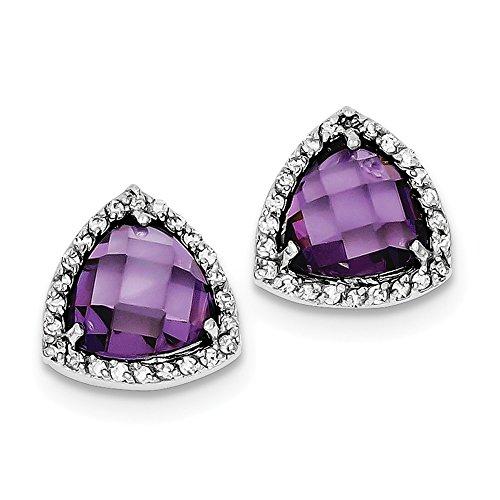 Mia Diamonds 925 Sterling Silver Purple Cubic Zirconia Trillion Post Earrings (14mm x -