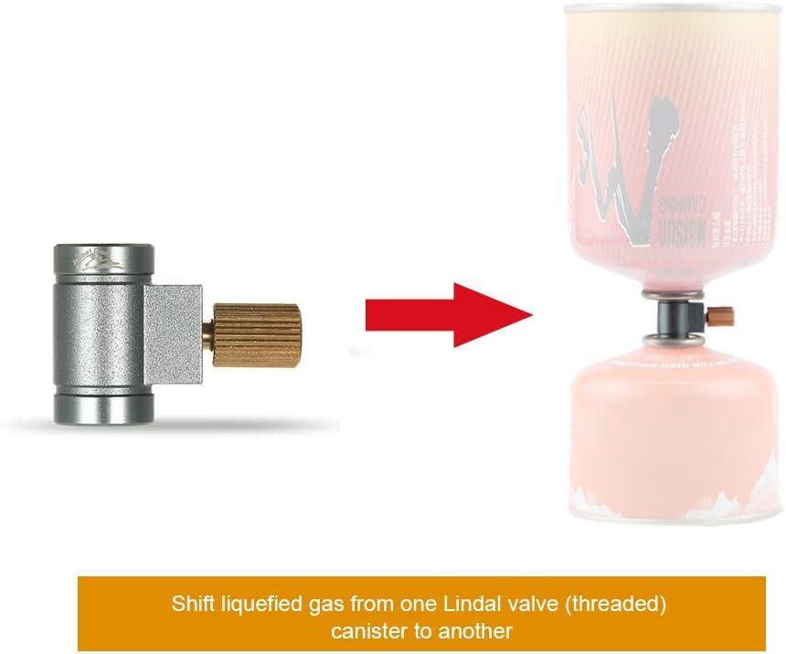 Lixada Lindal Valve Convertisseur de Gaz Canister Convertisseur Adaptateur de Refroidissement Air Vent Fonction Gaz Br/ûleur Camping Cylindres