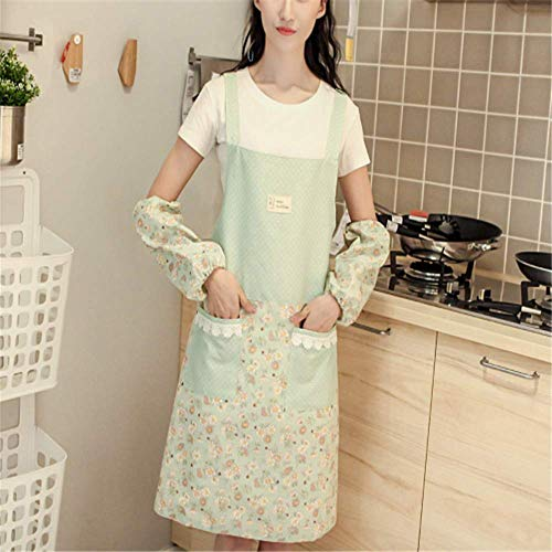 YXDZ (2 Pieces Korean Fashion Oilproof Waterproof Restaurant Kitchen Cooking Strap Apron Cute Adult Cafe Thin Section Overalls Green
