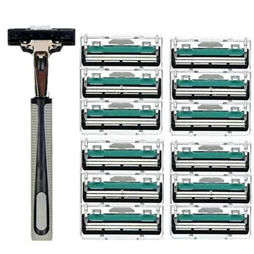 Giuoke Fusion Manual Men?s Razor Blade Refills, 12 Count, Mens Razors/Blades with A Holder