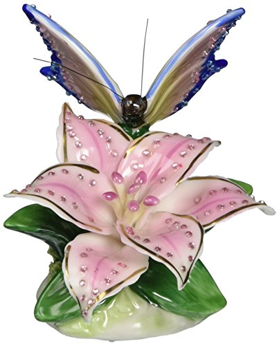 Cosmos 58042 Fine Porcelain Lily with Butterfly Musical Figurine, 3-1/4-Inch