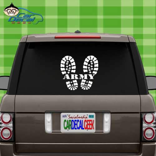 Car Decal Geek U.S. Army Combat Boots Military Vinyl Decal Sticker Bumper Cling for Car Truck Window Laptop MacBook Wall Cooler Tumbler   Die-Cut/No Background   Multi Sizes/Colors Silver, 20