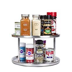Kitchen Estilo Stainless Steel Lazy Susan – 2 Tier Design, 360-degree Turntable lazy susans