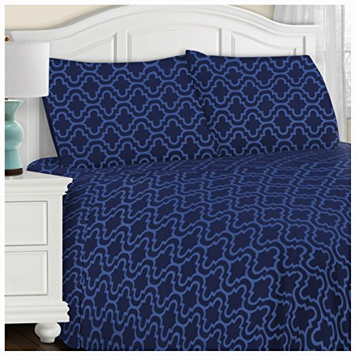 Superior Extra Soft Printed Highest Quality All Season 100% Brushed Cotton Flannel Trellis Bedding Sheet Set with Deep Pockets Fitted Sheet - Navy Blue Trellis, Twin XL Size