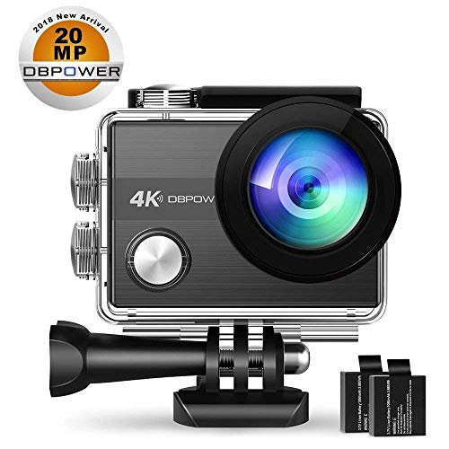 4K Action Camera by DBPOWER N5S 20MP WiFi Ultra HD EIS Sports Cam 170 Degree Adjustable Wide-Angle Lens 30m Underwater Camcorder Including 2 Rechargeable Batteries and Mounting Accessories Kit ()