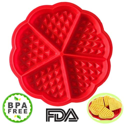 (Amison Waffle Mold Bakeware Silicone Waffle Baking Molds Flower Heart Shape Muffin Mould, Red)