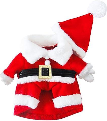 SymbolLife Traje de Santa Perro Abrigo de Perro Invierno Chaqueta de Perro Calentar Navidad Capucha Perro suéter Mezcla de algodón Rojo