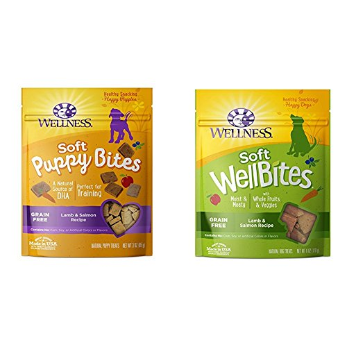 Wellness Soft Puppy Bites with Soft WellBites Dog Treats, Lamb & Salmon Bundle