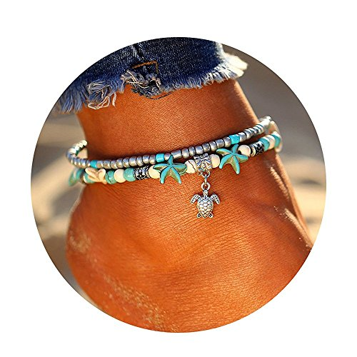 17mile Blue Starfish Turtle Anklet Multi-layer Charm Beads Sea Bench Handmade Boho Anklet Foot Jewelry Gifts for Women -
