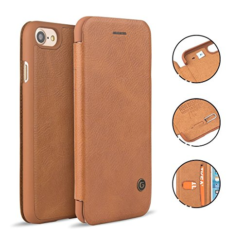 iPhone 7 Plus Leather Case, NXET® G-Case Premium Gulort Luxury Leather Flip  Cover Wallet Card Case (iPhone 7 Plus, Brown)