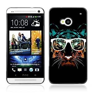YOYOSHOP [Hipster Glasses Cool Tiger] HTC One M7 Case