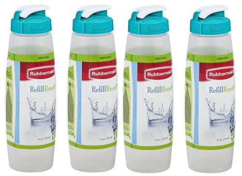 Rubbermaid Refill, Reuse Chug Bottle 32 Ounce Pack of 4