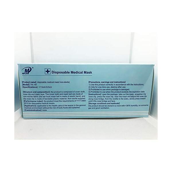 Miplni Disposable Non Sterile Medical Face Mask 3 Ply Type Ii Face Mask 50pcs Uk Stock