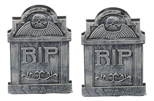 Hunter Huntsman Costume (Set Of 2 Rip Tombstone Plastic Halloween Graveyard Cemetery Prop Decoration)