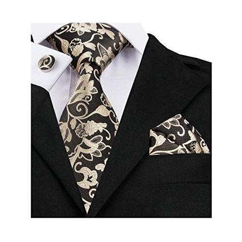 Barry.Wang Gold Tie Set Flower Silk Neckties for Men Woven,Black 7,One Size - Silk Woven Belt