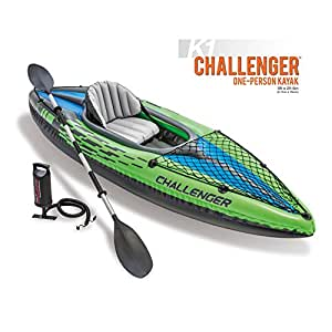 Inflatable Kayak (1-Person Intex with Pump Aluminum Oar for Kids & Large Adult) Folding SIngle Kyack Canoe Boat Set 9 Ft up to 220 Lb. Recreational Fishing any Saltwater Ocean River Lake. Lightweight
