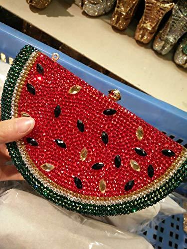 diamants à de dames Sac à strass métal soirée embrayage style cristal sac en pastèque avec en sac main en creux gqdaWqT