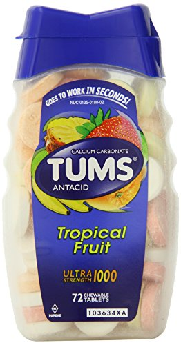 Tums Ultra, Assorted Tropical Fruit, 72 Chewable Tablets, (Pack of 2) ()