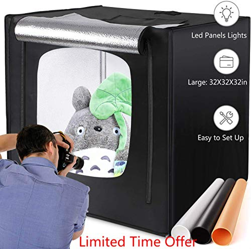 amzdeal Photography Light Box 32in Upgraded Photo Studio Professional Photography Tent with LED Light 3 Backdrops White Black Orange