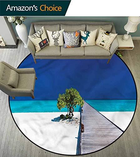 (RUGSMAT Beach Computer Chair Floor Mat,Wooden Platform Pier Tree Carpet Door Pad for Bedroom/Living Room/Balcony/Kitchen Mat Round-51)