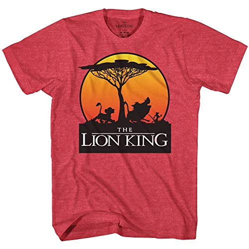 Disney Lion King Sunset Pride Stroll Africa Simba Mufasa Disneyland World Tee Adult Men's Graphic T-Shirt Apparel (Red Heather, -