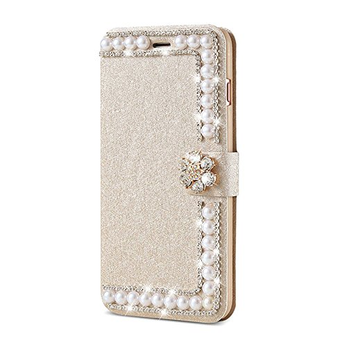 Elaco Women Phone Case Compatible with iPhone 6/6s 4.7 inch/Compatible with iPhone 6 Plus 5.5inch/ iPhone 7 4.7inch/iPhone 7 Plus 5.5inch Wallet Card Magnetic Case Cover (Gold1, iPhone 6/6s 4.7inch)