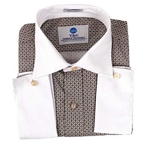 Y&G FC1031-L Brown Plaid Cotton Dress Shirt Warmth For Designer French Cuff Shirt By