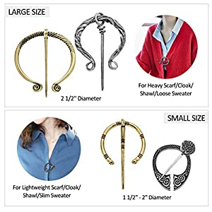 Vintage Viking Brooches Pins, Medieval Cloak Pin Shawl Pin Clasp Penannular Scarf Cardigan Pin Brooch for Men Women, Celtic Jewelries Viking Costume Accessories Decoration Silver Gold Rose Gold